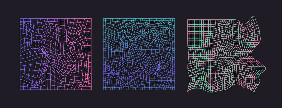 Distorted neon grid pattern. Abstract glitch background. Set collection. Retro wave, synthwave, rave, vaporwave. Blue, black, pink purple colors. Trendy retro 1980s, 90s style. Print, poster, banner.