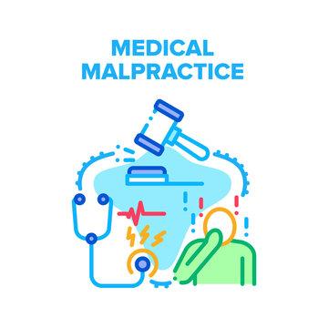 Medical Malpractice Error Vector Icon Concept. Medical Malpractice Error Doctor, Nurse And Hospital. Judge Gavel And Clinic Worker Stethoscope Tool, Medicine Jurisprudence Color Illustration