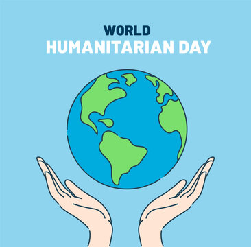World Humanitarian Day 19 August. Human hands holding clean earth.