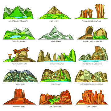 Vector natural landscapes or landmarks set. Linear icons of tourist sightseeing. Death and Yosemite valleys, Rushmore memorial, Bryce canyon, Swiss national park, The Matterhorn, Adam's peak.