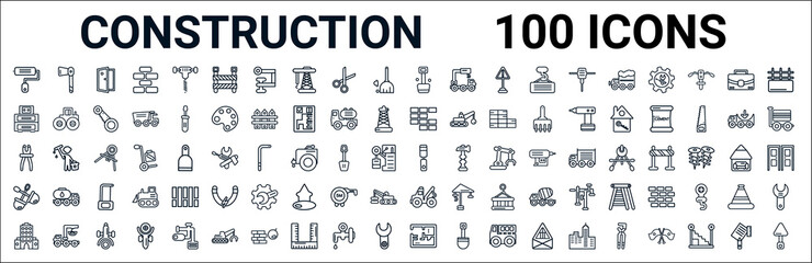 outline set of construction line icons. linear vector icons such as inclined ax,big closet,birck wall,inclined clippers,chisel,two shovels,tow truck,house plan. vector illustration
