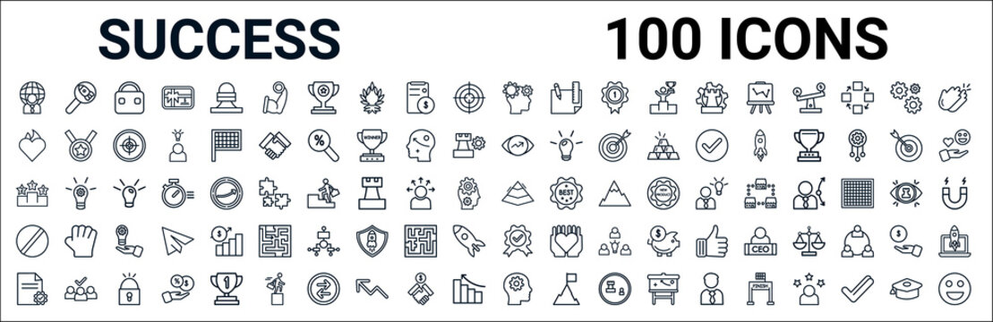 outline set of success line icons. linear vector icons such as startup project search,passion,vision,pedestal,pyramid chart,restrict,quality,startup head. vector illustration