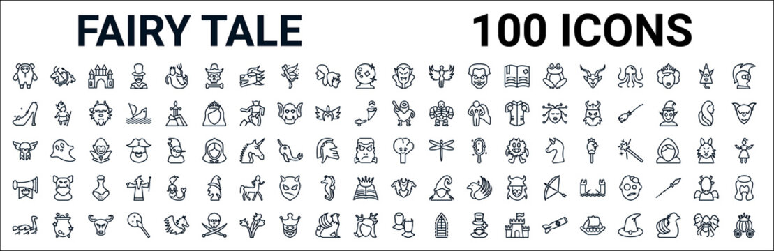 outline set of fairy tale line icons. linear vector icons such as chimera,cinderella shoe,cyclops,thor,talking tree,fanfare,cerberus,antagonist. vector illustration