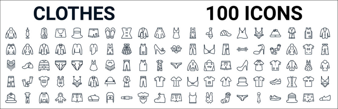 outline set of clothes line icons. linear vector icons such as mannequin,hoodie,mittens,shawl,knickers,pants,blouse,briefs. vector illustration