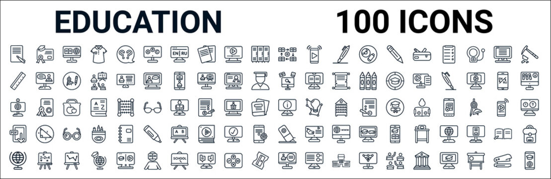 outline set of education line icons. linear vector icons such as diploma,ruler,knowledge,web camera,information,pdf,eraser,online class. vector illustration