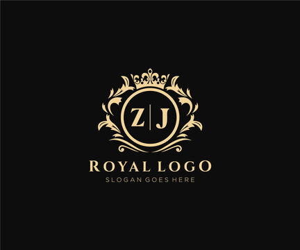 Initial ZJ Letter Luxurious Brand Logo Template, for Restaurant, Royalty, Boutique, Cafe, Hotel, Heraldic, Jewelry, Fashion and other vector illustration.