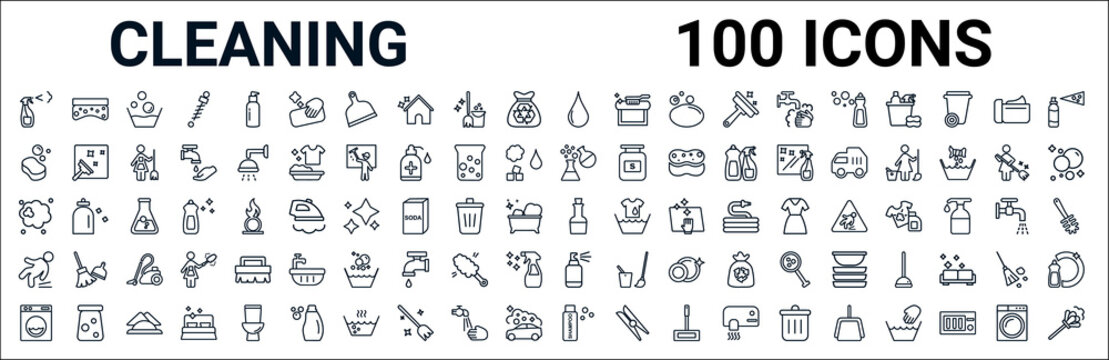 outline set of cleaning line icons. linear vector icons such as scouring pads,sponge,chemical reaction,dust,vinegar,slippery,spray,shampoo. vector illustration