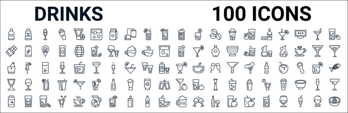outline set of drinks line icons. linear vector icons such as juice bottle,chocolate,planter's punch,ice bucket and bottle,last word drink,sidecar drink,pomegranate martini,beer mug. vector