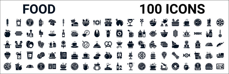 Fototapeta set of 100 glyph food web icons. filled icons such as drink water,apple leaf,pack,kitchen pack,barbecue grill,raspberry leaf,boiler,wine bottle and glass. vector illustration obraz