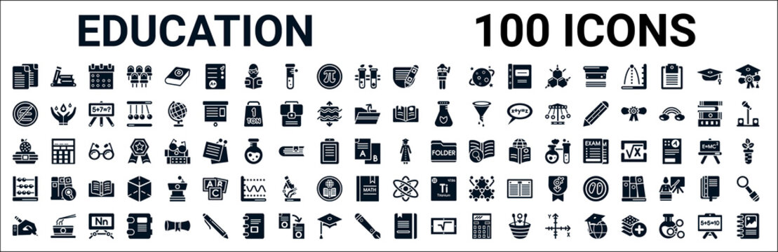 set of 100 glyph education web icons. filled icons such as library books,is not an element of,book with bookmark,lunchbox,college graduation,abcus,photon,book with marker. vector illustration
