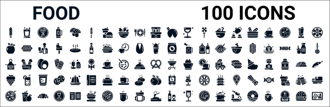 set of 100 glyph food web icons. filled icons such as drink water,apple leaf,pack,kitchen pack,barbecue grill,raspberry leaf,boiler,wine bottle and glass. vector illustration