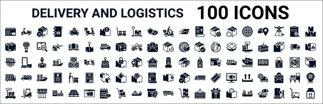 set of 100 glyph delivery and logistics web icons. filled icons such as scooter,package,delivery day,global logistic,postbox,delivery,packages,transportation. vector illustration