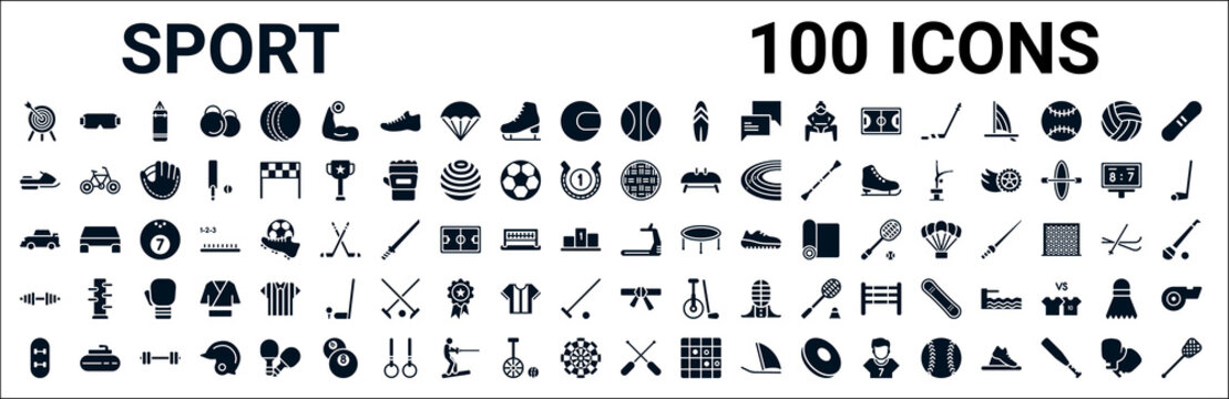 set of 100 glyph sport web icons. filled icons such as sport goggles,snowmobile sport,kickball,rallycross,training,bodybuilding,karate,rafting. vector illustration