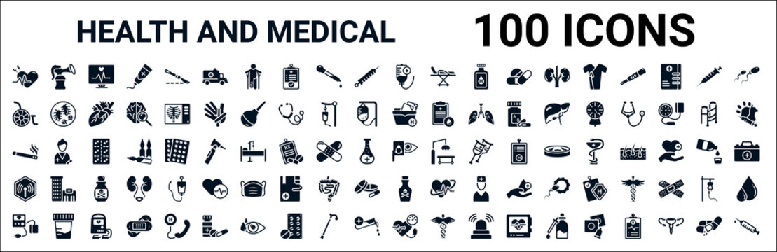set of 100 glyph health and medical web icons. filled icons such as breast pump,wheelchair,medical file,smoking,optometrist,non ionizing radiation,poisonous,blood pressure. vector illustration