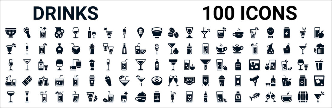 set of 100 glyph drinks web icons. filled icons such as opener,last word drink,pomegranate martini,mai thai,margarita,water jug,wine toast,sex on the beach. vector illustration