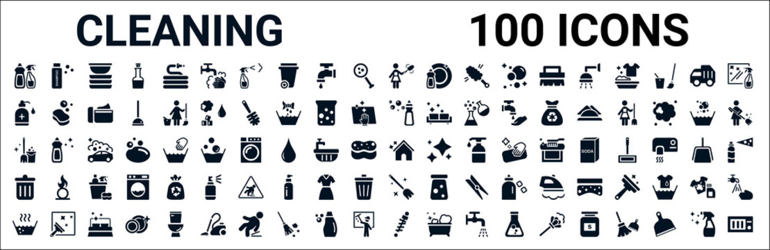 set of 100 glyph cleaning web icons. filled icons such as shampoo,sanitize,dishwashing detergent,cleaning tools,cleaning house,trash,broom,suspension. vector illustration