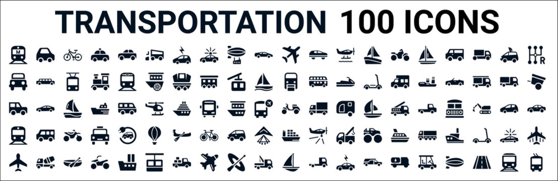 set of 100 glyph transportation web icons. filled icons such as litter car,off road,monorail,jalopy,vespa,subway,cargo ship,schooner. vector illustration