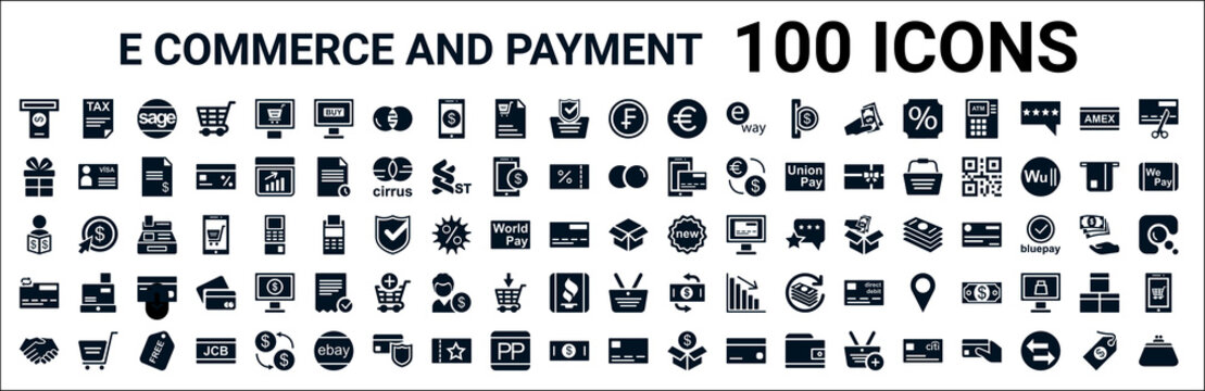 set of 100 glyph e commerce and payment web icons. filled icons such as tax,giftbox,maestro,broker,product,wirecard,basket,cit card. vector illustration