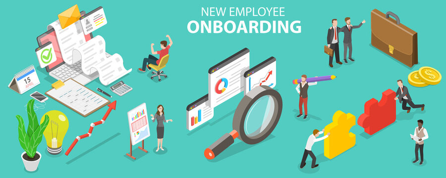 3D Isometric Flat Vector Conceptual Illustration of New Employee Onboarding, Organizational Socialization and Acquiring the Necessary Knowledge, Skills, Behaviors