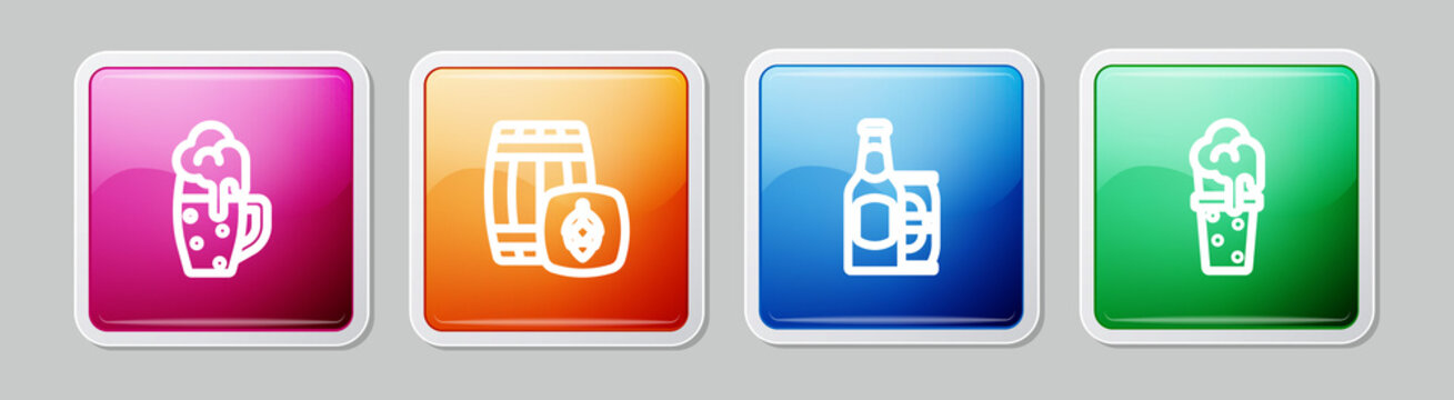 Set line Glass of beer, Wooden barrel, Beer bottle and can and . Colorful square button. Vector