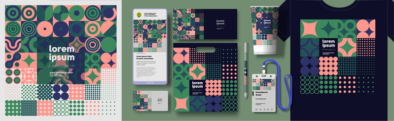 Fototapeta Corporate identity. Vector. Abstract patterns and branding. Elements for business. Example of using geometric illustrations in design.   obraz