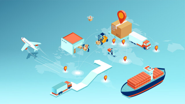 cargo delivery, logistics transportation and worldwide shipping concept