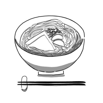 Japanese food illustration. Hand drawn sketch. Japanese cuisine. Vector illustration of Udon noodle in a bowl. Menu design elements. Isolated objects.