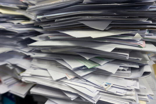 Close up stack of document at office