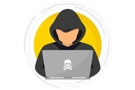 Hacker, Cyber criminal with laptop stealing user personal data. Hacker attack and web security. Internet phishing concept. Man in black hood with laptop trying to cyber attack