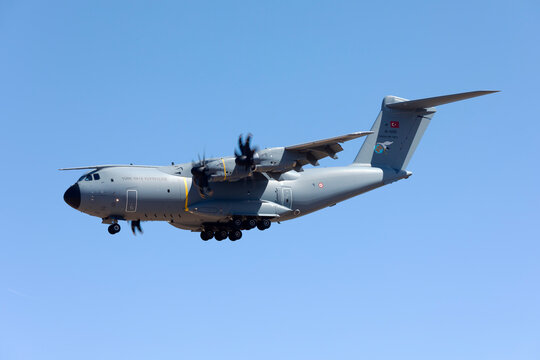 Luqa, Malta September 21, 2017: Turkish Air Force Airbus A400M Atlas [15-0051] landing runway 31; one of the support aircraft for the team Turkish Stars.