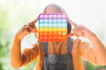 Happy European Baby Colorful Rainbow Pop It Pop Fidget Sensory Toy, Trending Toys and Anti stress,...