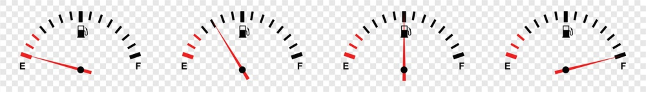 full fuel gauge icon set, vector illustration