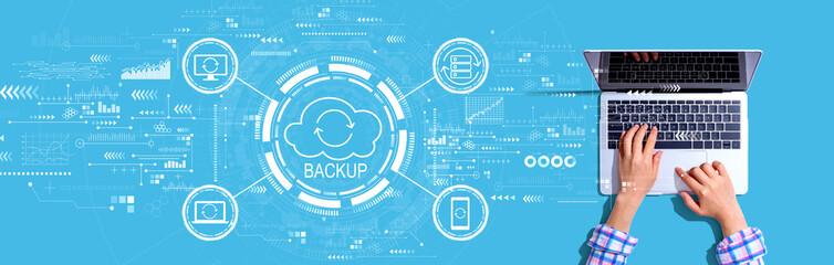 Fototapeta Backup concept with person using a laptop obraz