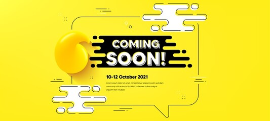 Fototapeta Coming soon text. Quote chat bubble background. Promotion banner sign. New product release symbol. Coming soon quotation chat message. Text frame banner. 3d quote. Vector obraz