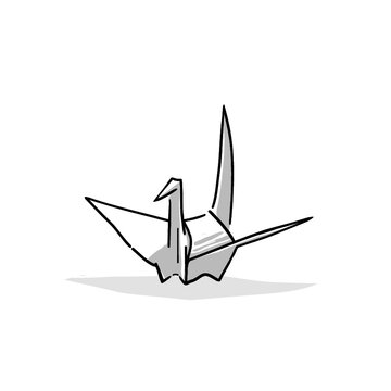 Japanese goods illustration. Hand drawn sketch. Japanese culture and lifestyle. Vector illustration of Japanese Origami crane icon. Graphic design elements. Isolated objects.