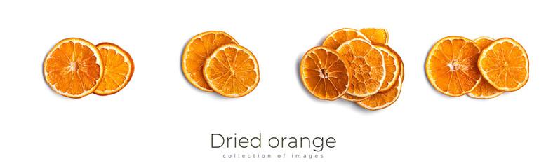 Obraz Dried orange isolated on white background. Orange fruits. - fototapety do salonu