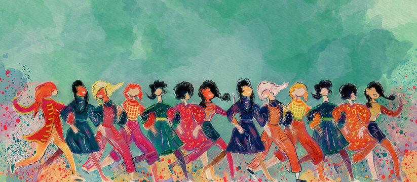 Happy friends. Watercolor design background