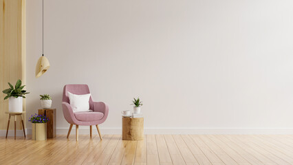 Fototapeta Living room wall mockup in warm tones with pink armchair and plant. obraz