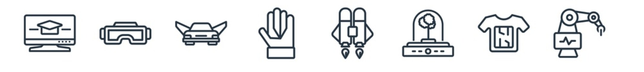 Obraz linear set of future technology outline icons. line vector icons such as online learning, vr glasses, flying car, wi gloves, jetpack, surgery vector illustration. - fototapety do salonu