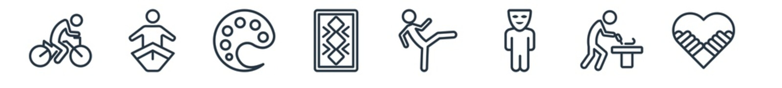 linear set of activity and hobbies outline icons. line vector icons such as biking, boat race, coloring, quilt, martial art, couple huging vector illustration.