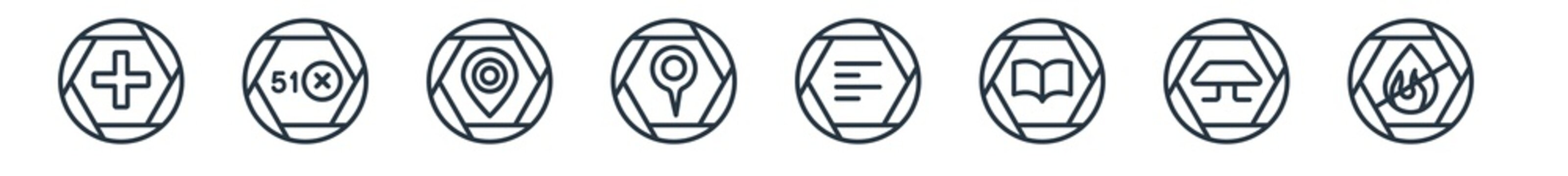 linear set of signs outline icons. line vector icons such as add, area 51, restaurant, map and map pointer, align left, no fire allowed vector illustration.