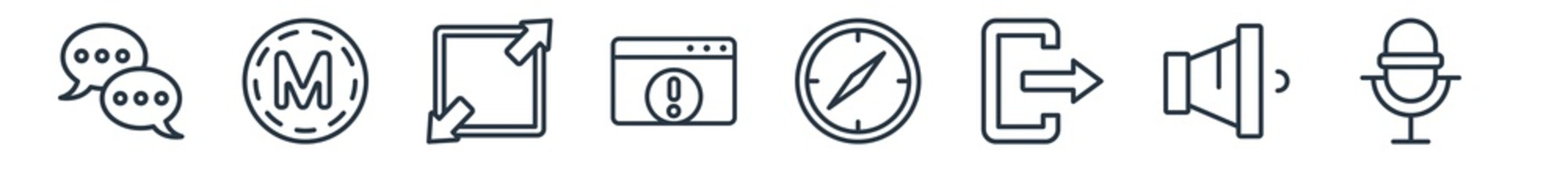 linear set of user interface outline icons. line vector icons such as bubble speech, medium, enlarge, error page, navigator, voice recording vector illustration.