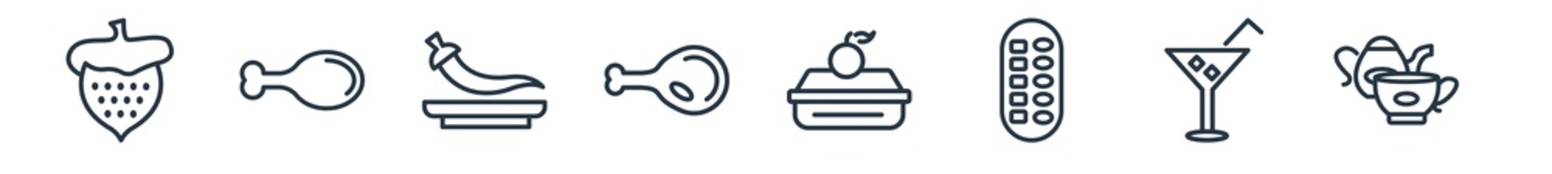 linear set of bistro and restaurant outline icons. line vector icons such as strawberry drawing, fried chicken thighs, mexican food, chicken thigh, food box, tea set vector illustration.