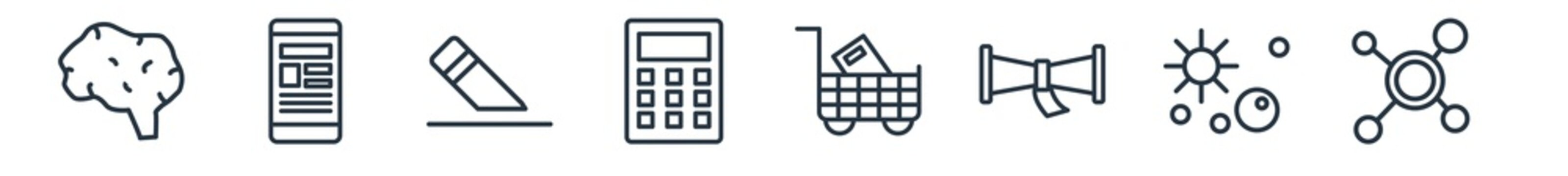 linear set of education outline icons. line vector icons such as human brain, smartphone app, eraser, small calculator, shopping cart, virus vector illustration.