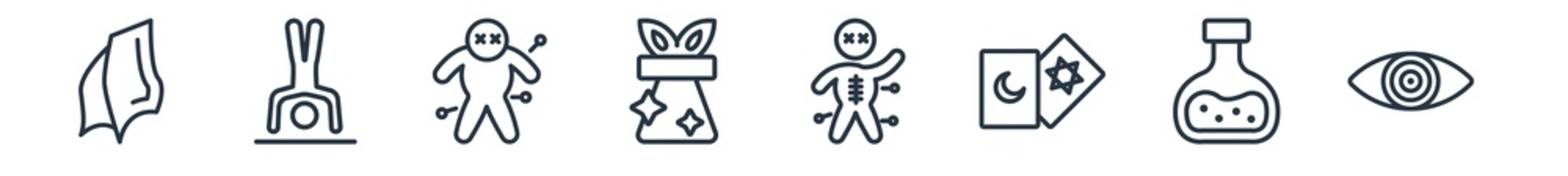 linear set of magic outline icons. line vector icons such as handkerchief, acrobatic, voodoo doll, magic trick, voodoo, hypnosis vector illustration.