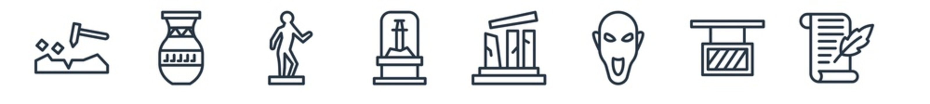 linear set of museum outline icons. line vector icons such as geological, ceramic, statue, remains, relics, poetry vector illustration.