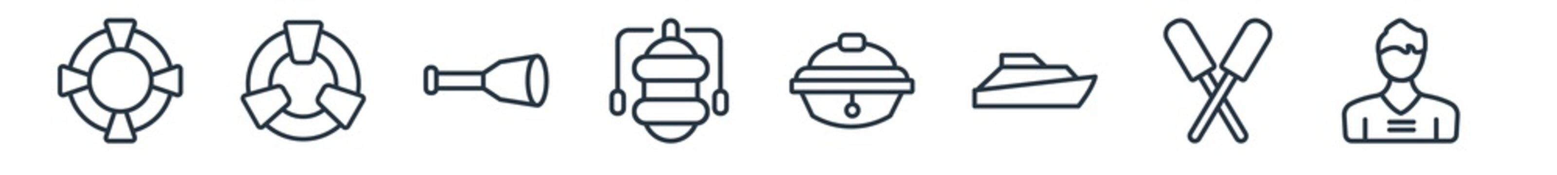 linear set of nautical outline icons. line vector icons such as lifesaver, life preserver, nautical monocular, oxygen tank, sailor cap, sailor vector illustration.