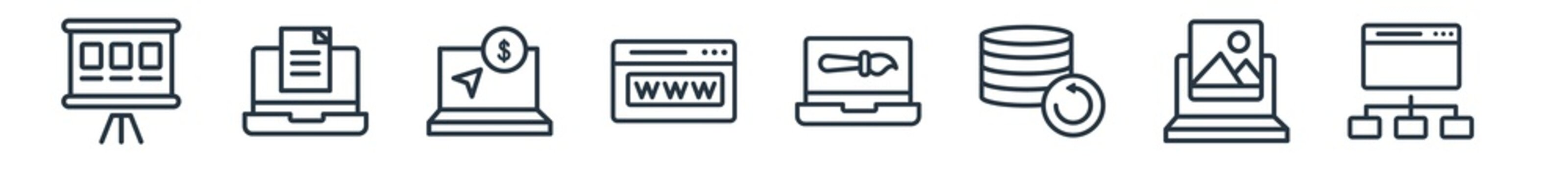 linear set of seo & web outline icons. line vector icons such as whiteboard, blogging, pay per click, domain registration, de, sitemap vector illustration.