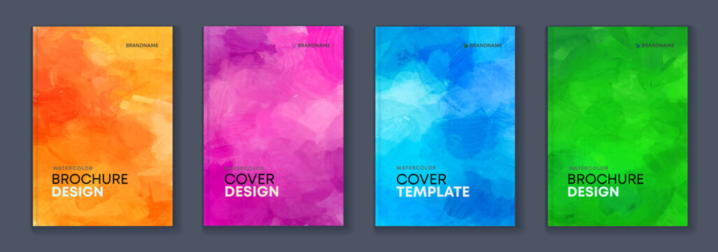 Watercolor background A4 booklet colourful cover bundle set