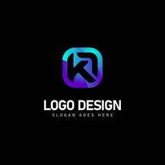 Obraz Modern initial letter mark ka logo design on black background - fototapety do salonu